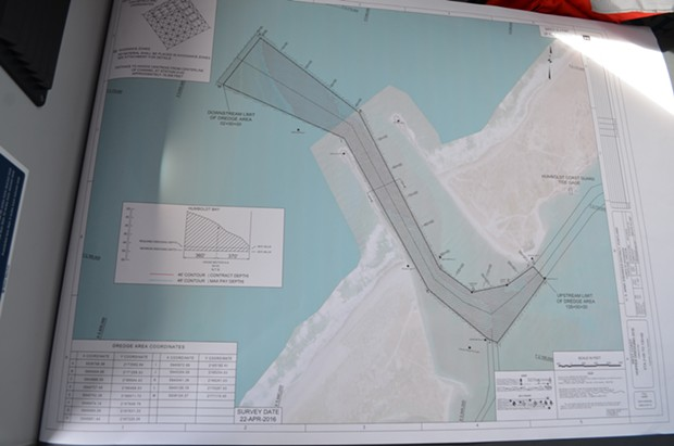 This map shows the entrance channel and the areas being dredged. - GRANT SCOTT-GOFORTH