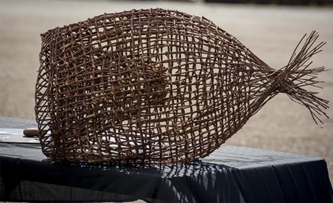A woven basket used to catch Pacific lamprey, commonly called eels, was one of many items displayed at an exhibit of Yurok traditions. Eels enter the Klamath River to spawn and are part of the Yurok seasonal diet. - MARK LARSON