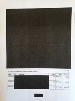 A heavily redacted receipt provided to the Journal by the city of Eureka, pursuant to a records request.