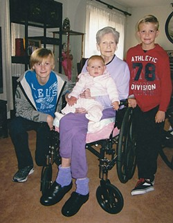 Jeannie Newstrom with her grandchildren and great grandchild. - COURTESY OF SHARON CROSSLAND