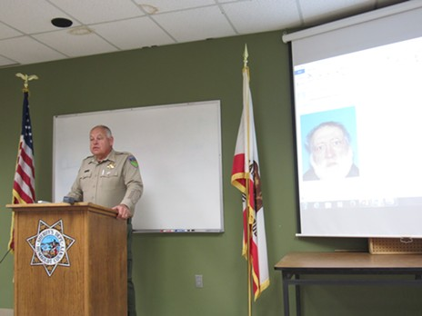 Sheriff Mike Downey recounts the events of the standoff  at a press conference. - LINDA STANSBERRY