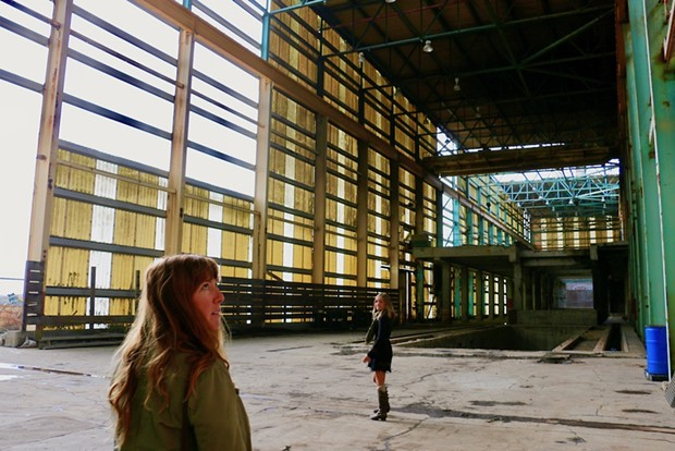 Jasmin Segura, with Humboldt Baykeeper, and Delia Bense Kang with Surfrider tour Marine Terminal II. - JENNIFER SAVAGE