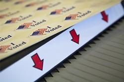 """I Voted"" stickers. - MANUEL J. ORBEGOZO"