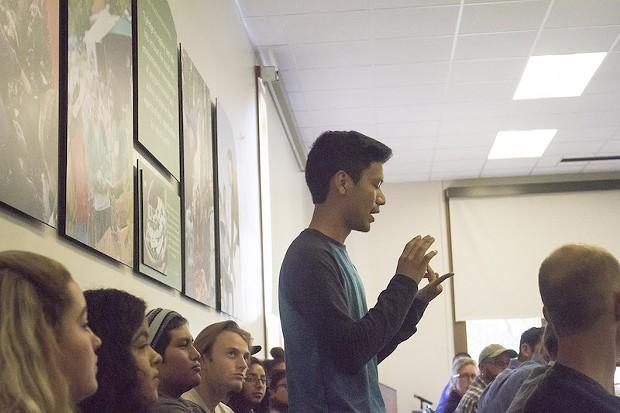 Diego Morales speaks out at the university senate meeting discussing marginalization at Eureka High School. - JAVIER ROJAS