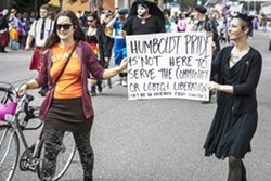 Critics of Humboldt Pride shared their message during the parade. - MARK LARSON
