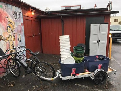 Arcata Compost Revolution's sweet ride, preparing for a pick up. - SUBMITTED