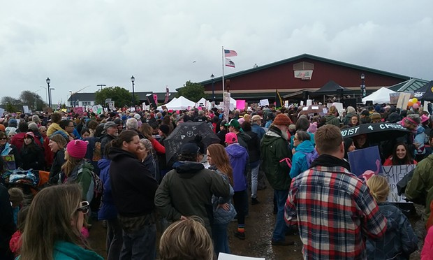 A large crowd at Fisherman's Plaza. - LINDA STANSBERRY