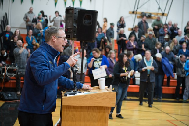 Huffman pledges to fight at his town hall in Arcata on Thursday. - BEAU SAUNDERS