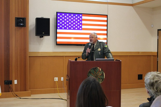 Sheriff Mike Downey addresses members of  his office and local officials during a departmental review Monday before his retirement in May. - COURTESY OF THE SHERIFF'S OFFICE
