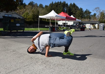 Michael Guerrero, winner of the 4-mile, still had enough energy for this move. - JENNIFER FUMIKO CAHILL