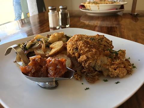Pan fried chicken with tomato jam. - JENNIFER FUMIKO CAHILL