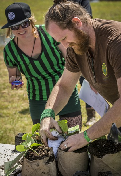 Angus Funkhouser competing in the Humboldt Grow Games at Cannifest. - PHOTO BY MARK LARSON