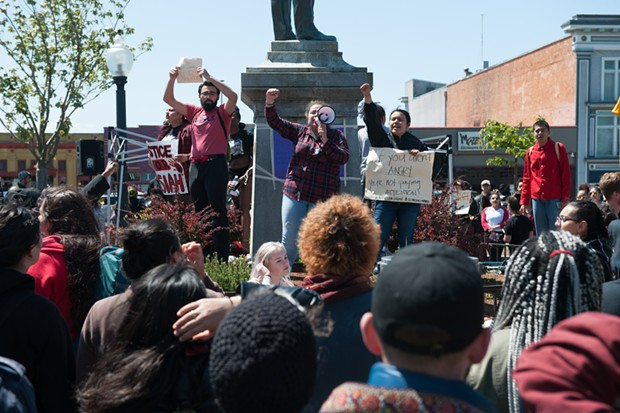 For the second consecutive day, protesters descended on the Arcata Plaza on Saturday to demand justice in the killing of David Josiah Lawson. - MARK MCKENNA