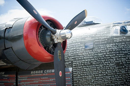 Donors, Honor Crew members and the war planes they flew are inscribed on the Witchcraft. - PHOTO BY MARK MCKENNA