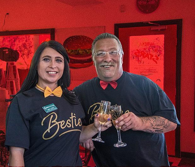 Nina Tillman, who works at Lima's Pharmacy, winner for Best Pharmacy, with Ray Schick, owner of neighboring Stars Hamburgers, winner of Best Burger and Milkshake. - PHOTO BY JILLIAN BUTOLPH