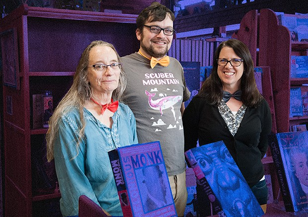 Nancy Short (left) and Jen McFadden (right), owners of Best Bookstore Booklegger with Best Musician Aber Miller, who works at the shop. - PHOTO BY MARK MCKENNA