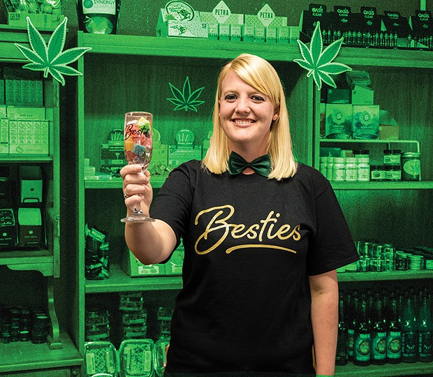 Humboldt's Best Budtender Savannah Snow toasting with Synergy Gummies, winner of Best Local Cannabis Product. - PHOTO BY JILLIAN BUTOLPH