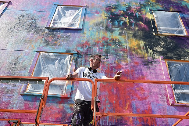 Duncan Jago in front of his work in progress. - JENNIFER FUMIKO CAHILL