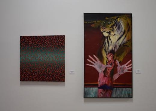 "Left, Oguchi Marshall's ""Tomato Juice Blues"" and Orr Marshall's ""Tiger Dream."" - JENNIFER FUMIKO CAHILL"