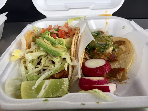 Left to right: The shrimp and buche tacos from Tacos El Gallo. - JENNIFER FUMIKO CAHILL