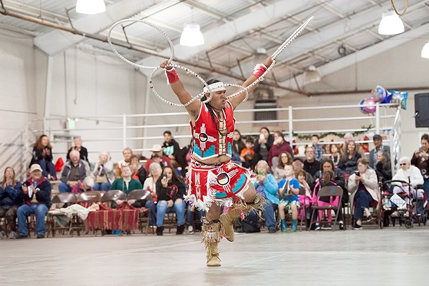 Sage Andrew Romero, of Pine Valley performs the Hoop Dance. - PHOTO BY MARK MCKENNA