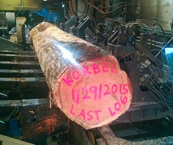 The last log to come off the Korbel Mill when it closed in 2015. The mill had been in operation on and off since 1884. - PHOTO BY WILLY WARD