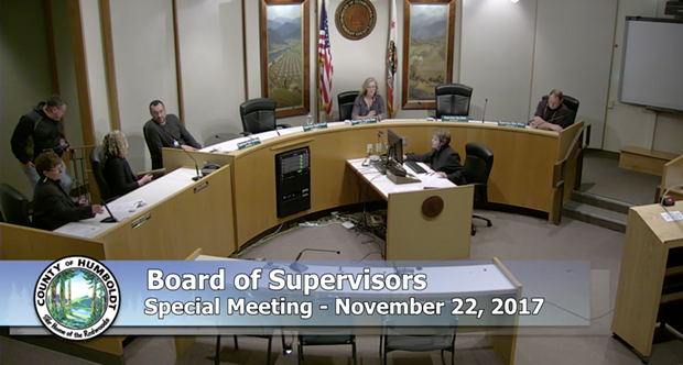 First District Supervisor Rex Bohn declines to take his seat as the Humboldt County Board of Supervisors convenes its Nov. 22 closed session meeting to discuss the fate of Public Defender David Marcus.
