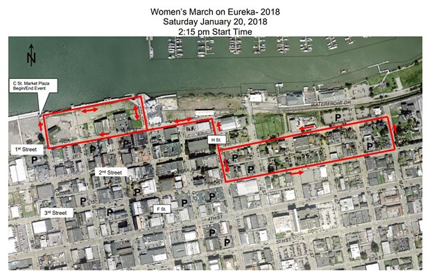 Women's March on Eureka route map. - SUBMITTED