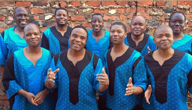Ladysmith Black Mambazo, with tenor Albert Maibuko in the upper left corner. - COURTESY OF THE ARTISTS