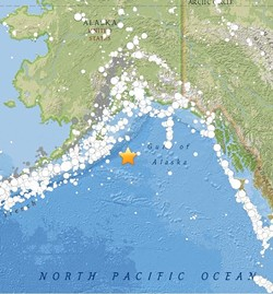 A magnitude-7.9 quake hit off of Alaska. - USGS