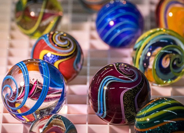 Artist Geoffrey Beetem's marbles were among the scores of glass creations on display at the Humboldt Marble Weekend. - PHOTO BY MARK LARSON