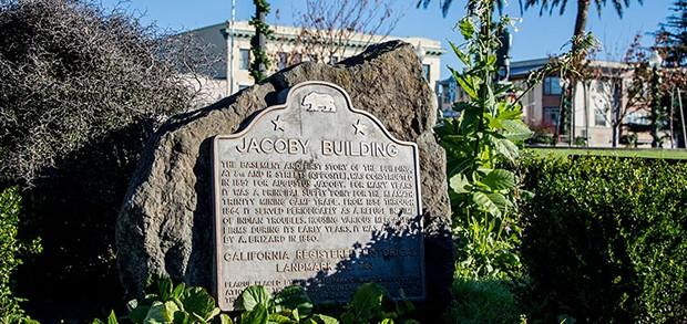 The Jacoby Building plaque. - FILE