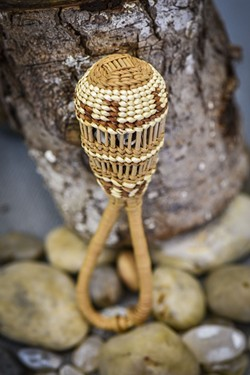 A woven baby rattle at the Yurok Visitor's Center. - DREW HYLAND