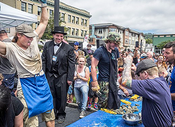 Competitive shucking on the Arcata Plaza during last year's Oyster Fest. - PHOTO BY MARK LARSON