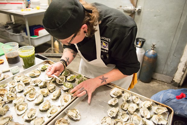 Chef Lizette Acuna of Ramone's prepared a duo of oysters for last year's Equinox event. - PHOTO BY MARK MCKENNA