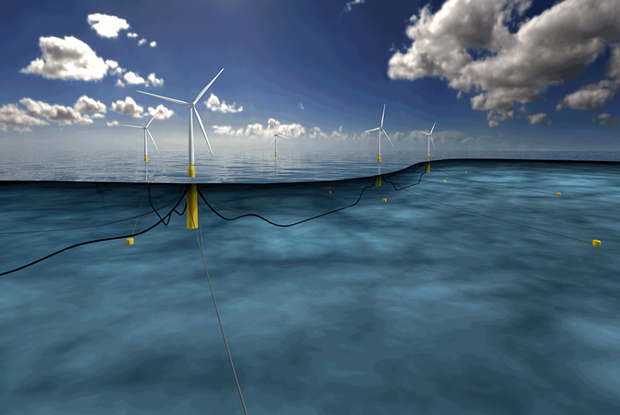Illustration of a spar-buoy floating turbine, one of three potential designs being considered by the National Renewable Energy Laboratory. - COURTESY OF STATOIL