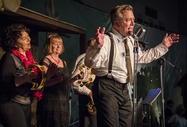 The ever popular Stompy Jones band with guest vocalist Chris Binnings and RCMF Board member Teresa Goodlin (left) and Valerie Jansen. - PHOTO BY MARK LARSON