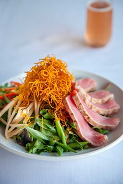Seared ahi tuna salad. - PHOTO BY AMY KUMLER. STYLING BY LYNN LEISHMAN.