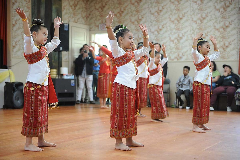 The youngest members of the Humboldt County Lao Dancers perform traditional dance. - PHOTO BY MARK MCKENNA