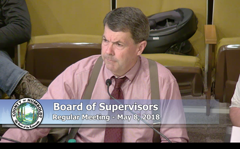 Humboldt County Planning Director John Ford walks the board through changes to the cannabis ordinance. - SCREENSHOT