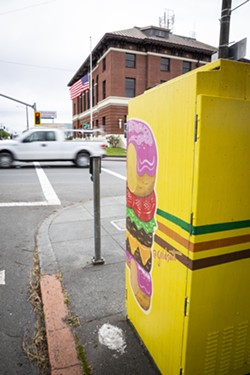 """""""Donut Cheeseburger"""" proudly on display across from the post office. - SAM ARMANINO"""