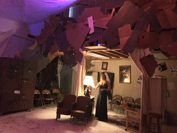 Actor Linnea Ytterlid on the immersive set of Let Me Out! at Dell'Arte. - PHOTO BY TUSHAR MATTHEW