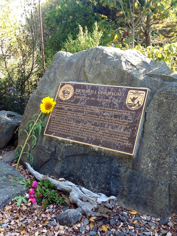 Flowers placed at the Richard J. Guadagno Headquarters and Visitor Center, Humboldt Bay National Wildlife Refuge, Sept. 11, 2014. - FILE PHOTO