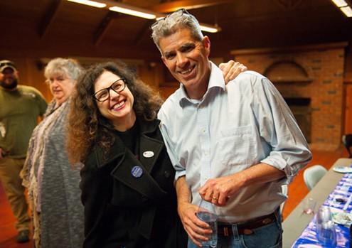 Humboldt County's next judge Lawrence Killoran celebrates with local attorney Kathleen Bryson. - MARK MCKENNA
