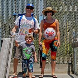 Jenny Karevoll (right, amazing painted stomach) and family - MATT FILAR