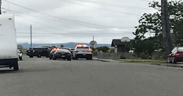 Law enforcement on Penn Street in Fortuna at a standoff. - PHOTO BY RAQUEL THURMAN