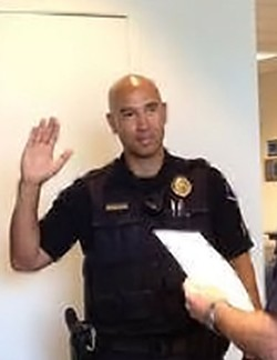 Jacy Tatum is sworn in as a Rohnert Park police sergeant in July 2015. - CITY OF ROHNERT PARK POLICE & FIRE FACEBOOK PAGE)