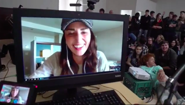 Sara Bareilles chats with Eureka High School students on Skype. - VIA INSTAGRAM