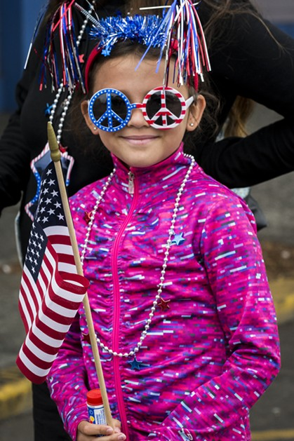 This Bubbles Parade watcher wore event-themed apparel of all types. - MARK LARSON
