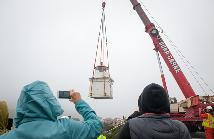 Trinidad Memorial Lighthouse on the Move